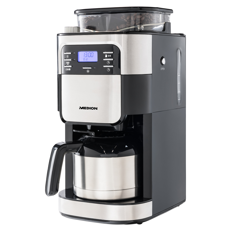 MEDION® Koffiemachine met molen en thermoskan MD 19777 | LED display | Druppelstop | koffiebonenmolen | 900 watt | Inhoud 1,0 liter