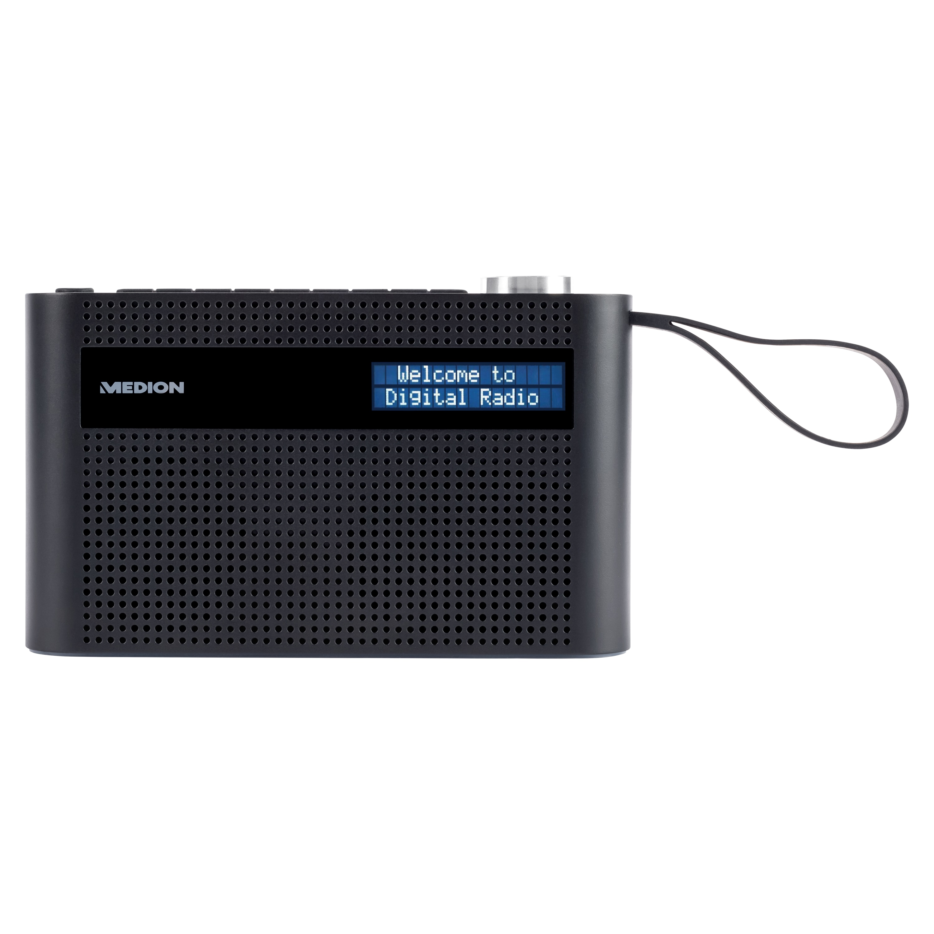 MEDION® P66007 Tragbares Radio, dimmbares Dot-Matrix-Display, DAB+/UKW, Bluetooth® 5.0, integr. Akku, kompaktes Design, Trageschlaufe, 3 W (RMS)