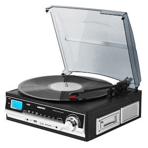 MEDION® LIFE® E69216 Schallplatten- und Kassettendigitalisierer, LC-Display, Encoding ohne PC, Riemenantrieb, 3 Drehgeschwindigkeiten, Speicher für 99 MP3-Tracks, Auto-Stopp