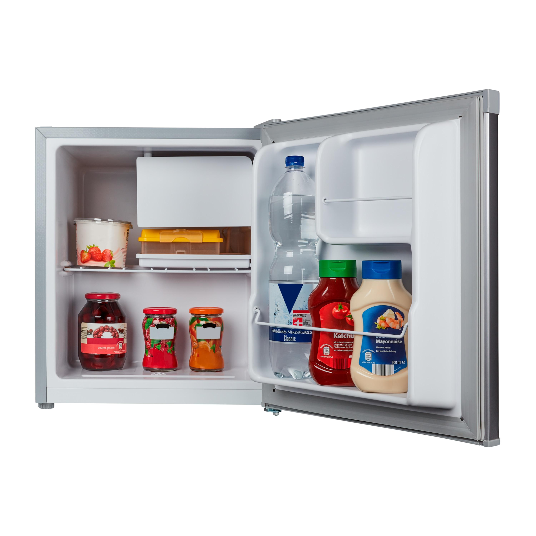 MEDION® Tischkühlschrank mit Eisfach MD 37136, 46 L Gesamt-Nutzinhalt, integriertes Eiswürfelfach, Geräuschpegel 42 dB