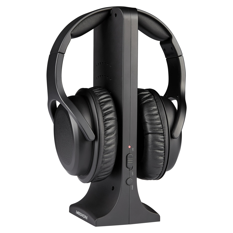 MEDION® LIFE® E62003 Funkkopfhörer, Reichweite ca. 15 m, bis zu 10 Stunden Laufzeit, digitaler Sound, hoher Tragekomfort, inkl. Sende-/Ladestation