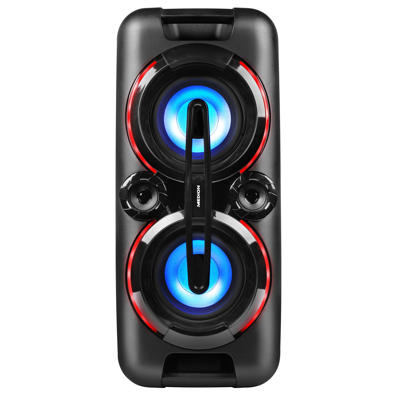 MEDION® LIFE® P67013 Partylautsprecher mit Bluetooth 2.1, farbige LED-Lichter, kraftvolle Bässe, 2 x USB, AUX Anschluss, 2 x 22 Watt RMS, integr. Akku (B-Ware)