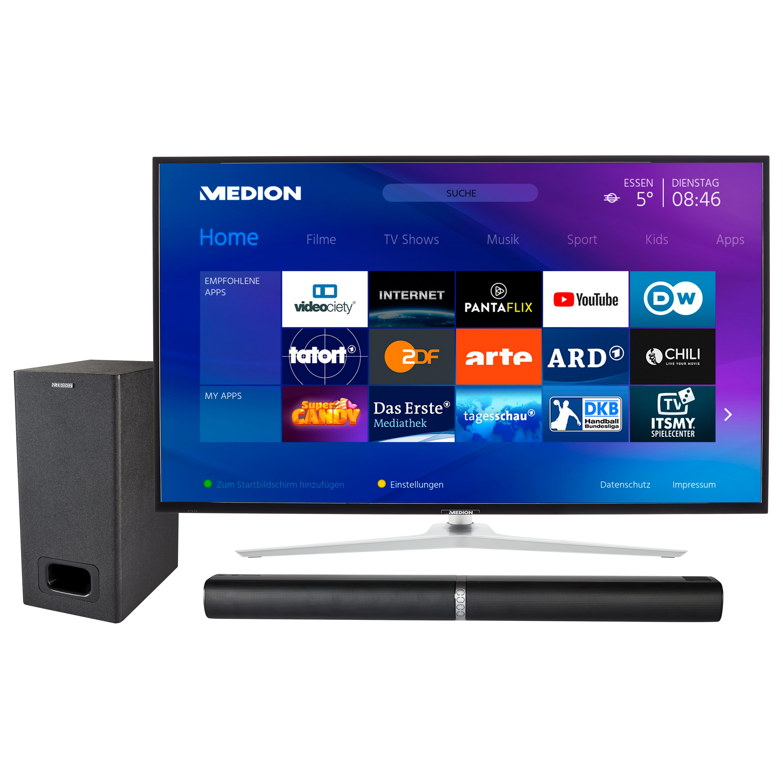 MEDION® LIFE® X14350 Smart-TV, 108 cm (43'') Ultra HD Fernseher, inkl. LIFE® P61220 TV-Soundbar mit Subwoofer - ARTIKELSET