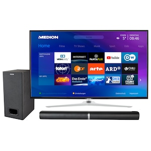 MEDION® BundelDEAL ! LIFE® X14350 50 inch Smart-TV & P61220 Bluetooth 2.1 soundbar met subwoofer