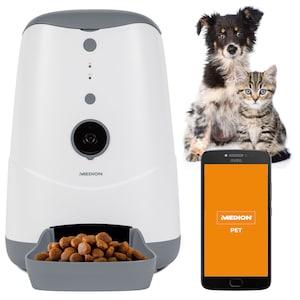 MEDION® Smarter Futterautomat MD 60228, automatische Fütterungszeiten, programmierbare Portionenanzahl, HD-Videoaufzeichnung & Stimmenübertragung, Steuerung per App