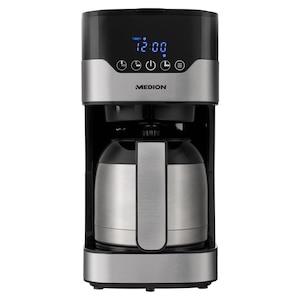 MEDION® Kaffeemaschine mit Thermokanne MD 18458, Timer-Funktion, Tropf-Stopp, 900 Watt, 1,2 Liter Fassungsvermögen, Aromawahlschalter