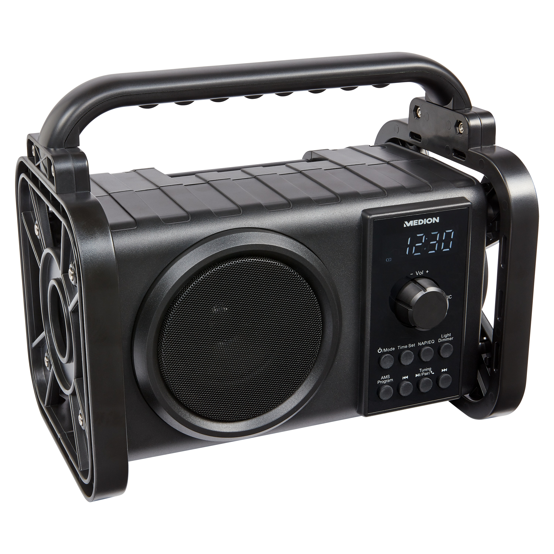 MEDION® LIFE® P66200 Bluetooth® Baustellenradio, PLL-UKW Radio, LC-Display, Bluetooth® 5.0, Spritzwassergeschützt (IP44), robustes Gehäuse, LED-Arbeitslicht, 50 W max. Musikausgangsleistung  (B-Ware)