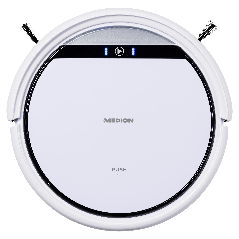 MEDION® Robot stofzuiger MD 18500 (wit) | 90 Min bedrijfstijd | 2500 mAh accu | Programmeerbaar | 4,5 uur oplaadtijd | Virtuele muur