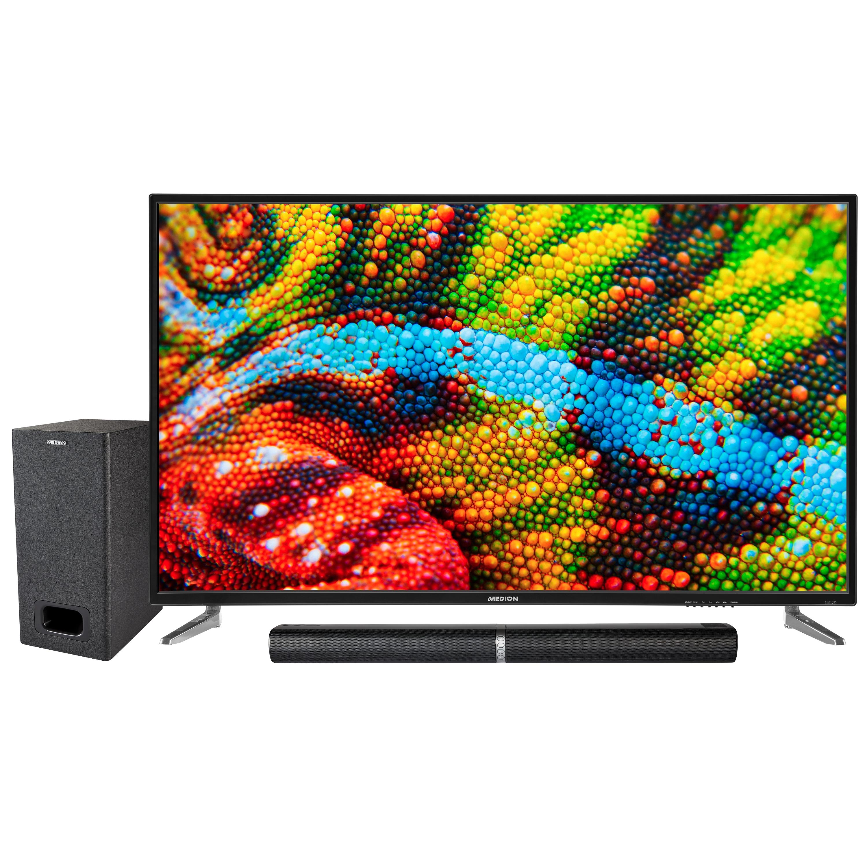 MEDION® LIFE® P16502 TV, 163,8 cm (65'') Ultra HD Fernseher, inkl. LIFE® P61220 TV-Soundbar mit Subwoofer - ARTIKELSET