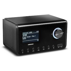 MEDION® P85105 Internetradio, 8,9 cm (3,5'') TFT-Display, DLNA/UPnP, UKW, LAN, USB 2.0, WLAN, AUX, solides Holzgehäuse