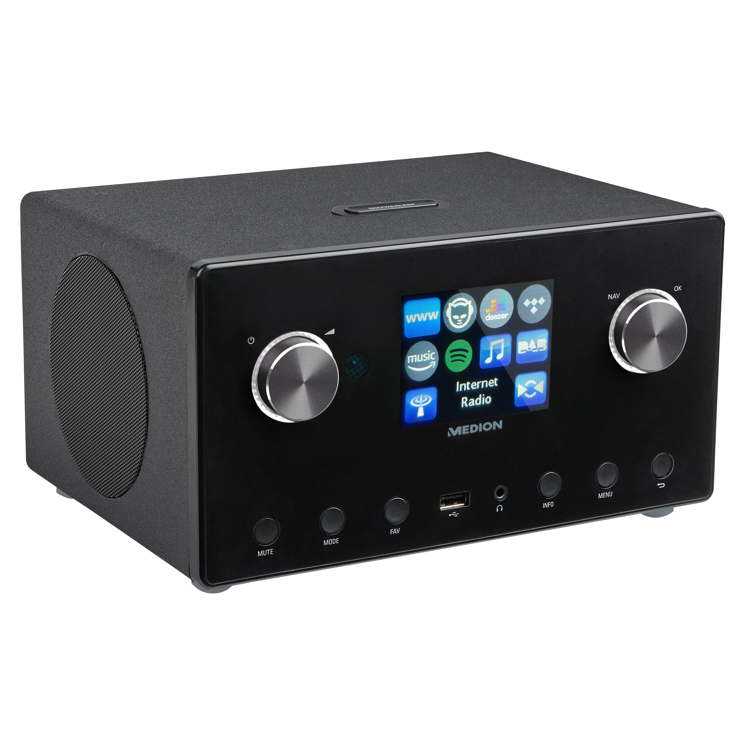 "MEDION® LIFE® P85295 Stereo Internetradio, großes 8,1 cm (3,2"") TFT-Display, DAB+ & UKW, Spotify®-Connect, DLNA, USB, WLAN, LAN, integrierter Subwoofer, 2 x 7,5 W + 1 x 15 W (RMS)"
