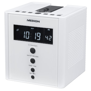 MEDION® LIFE® E66395 Radio-réveil à projection | Projection de l'heure sur les murs ou les plafonds | radio PLL-FM | mise à l'heure automatique (RDS)
