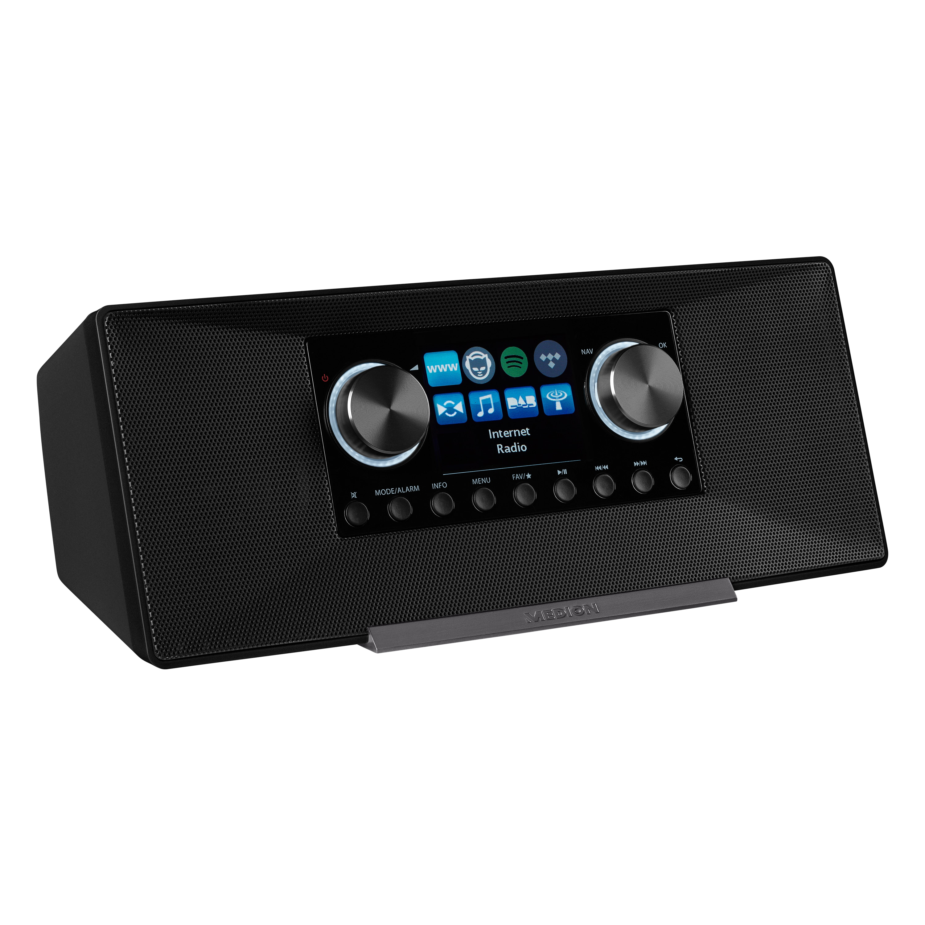 MEDION® P85289 Stereo Internetradio, 7,1 cm (2,8'') TFT-Display, DAB+/UKW-Empfänger, WLAN, DLNA, Spotify®-Connect, 2 x 6 W RMS