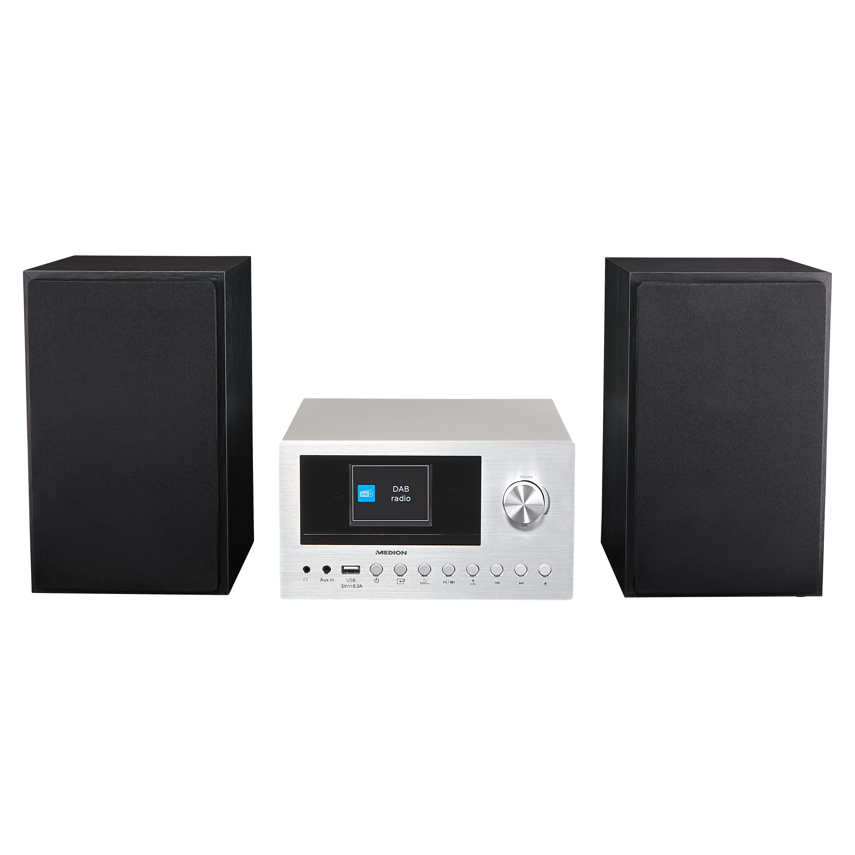 MEDION® LIFE® P85003 Micro-Audio-System, Internet/DAB+/PLL-UKW Stereo-Radio mit je 40 Senderspeichern, 2,8'' TFT-Farbdisplay, Bluetooth® 5.0, CD-Player, WLAN, USB, 2 x 150 W max. Musikausgangsleistung