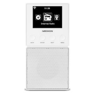 MEDION® LIFE® E85032 Steckdosen Internetradio, 6,1 cm (2,4'') TFT-Farbdisplay, Steuerung per App, DLNA-/UPnP kompatibel, WLAN und Bluetooth®-Funktion