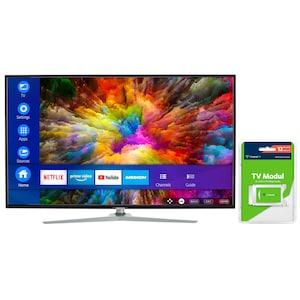 MEDION® LIFE® X15511 Smart-TV, 138,8 cm (55'') Ultra HD Fernseher, inkl. DVB-T 2 HD Modul (12 Monate freenet TV gratis) - ARTIKELSET