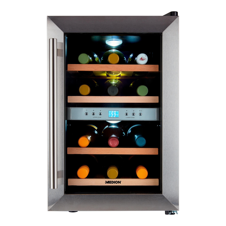 MEDION® Weintemperierschrank MD 37450, 2 Temperaturzonen (7°C-18°C), Nutzinhalt ca. 34 L (ca. 12 Flaschen), LED-Innenbeleuchtung