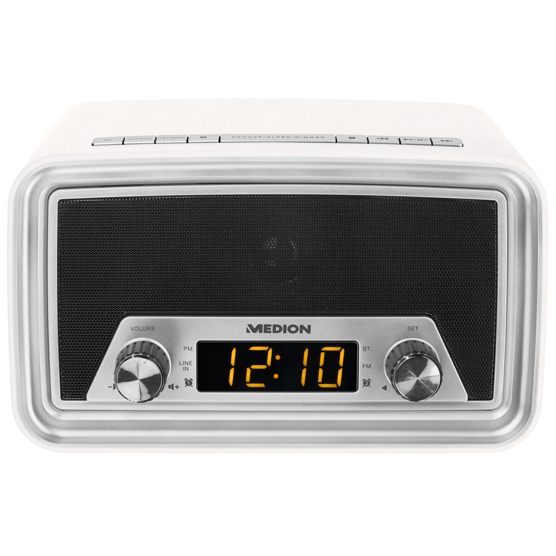 MEDION® LIFE E66333 Rétro-réveil radio | Bluetooth | Affichage LED à gradation | réveil | AUX | connexion USB | 40 Watt