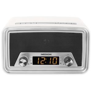 MEDION® LIFE E66333 Retro klokradio | Bluetooth | Dimbaar LED-display | wekker | AUX | USB aansluiting | 40 Watt