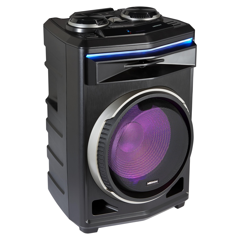 MEDION® LIFE® P61200 partyluidspreker, draagbaar Bluetooth®-geluidssysteem, verschillende lichteffecten, krachtig geluid, telescoopgreep en wieltjes, 350 W max. uitgangsvermogen voor muziek