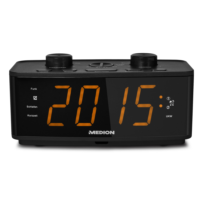 MEDION® LIFE® E66375 Funkgesteuertes Uhrenradio, großes LED-Display 4,57 cm (1,8''), Weckfunktion, Schlummerfunktion, Displaydimmer (B-Ware)