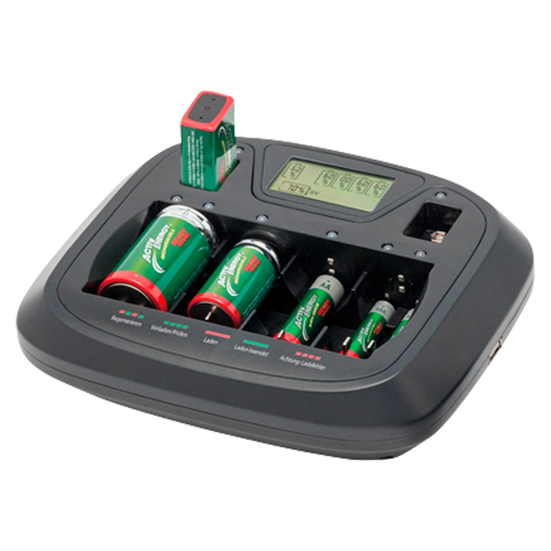 MEDION® Universal Profi-Schnell-Ladegerät MD 15527, Anzeige für Akkuladestand, intelligente Ladesteuerung, USB-Anschluss zum einfachen Aufladen mobiler Geräte, zeitgleiches Laden von bis zu 8 Akkus