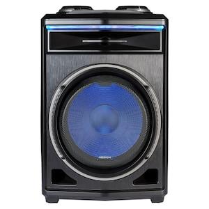 MEDION® LIFE® P61200 Partylautsprecher, tragbares Bluetooth® Soundsystem, verschiedene Lichteffekte, satter Sound, Teleskopgriff und Rollen, 350 W max. Musikausgangsleistung