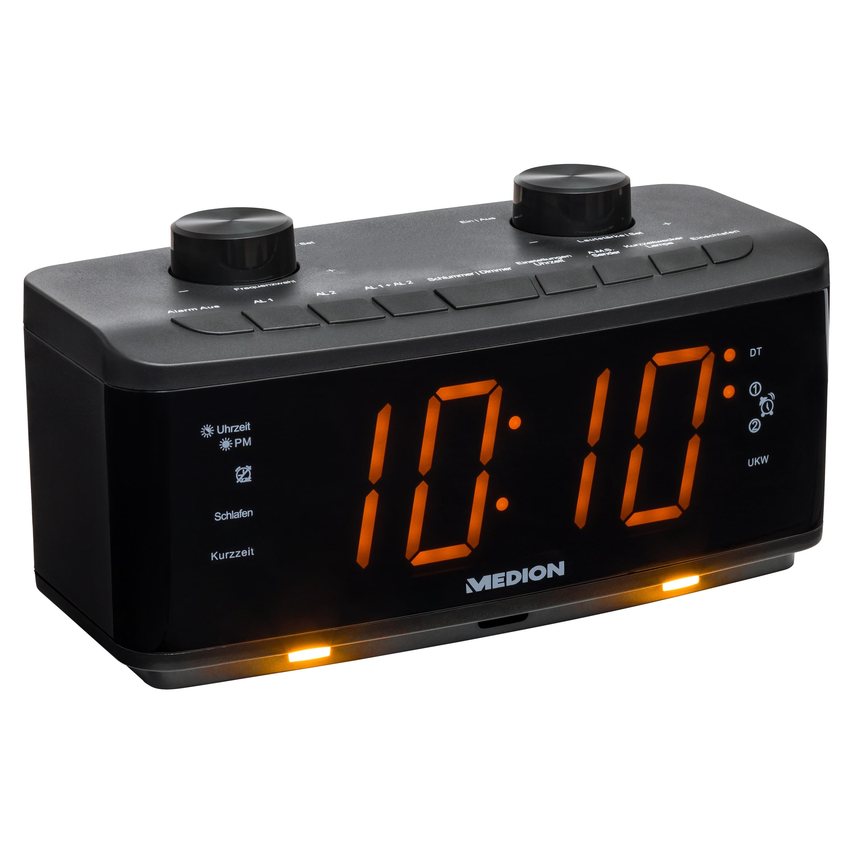 MEDION® LIFE® P66173 Uhrenradio, großes 4,57 cm (1,8'') LED-Display, PLL-UKW Radio, 20 Senderspeicher, USB Ladeanschluss, LED-Nachtlicht, benutzerfreundliche Bedienelemente  (B-Ware)