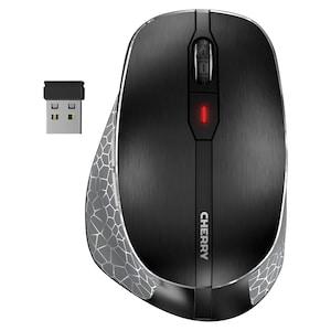 CHERRY MW 8 Ergo Maus, Verbindung über Bluetooth® oder 2,4 GHz Funk, überlegenes Handling speziell für Rechtshänder, ideal für große Hände, Daumenauflage