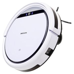MEDION® Saugroboter MD 18500, vollautomatische Reinigung, Tierhaar optimiert, bis zu 90 Min Laufzeit, selbstständige Ladefunktion, für eine Vielzahl von Böden, Timer-Funktion