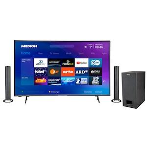 MEDION® Offre combinée ! LIFE® X14351 Ultra HD Smart-TV 43 pouces & P61220 Barre de son 2.1 avec Bluetooth et caisson de basses