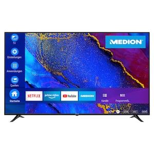 MEDION® LIFE® X17572 Smart-TV, 189,3 cm (75'') Ultra HD Display, WCG, HDR, Dolby Vision™, Micro Dimming, MEMC, PVR ready, Netflix, Amazon Prime Video, Bluetooth®, DTS HD, HD Triple Tuner, CI+