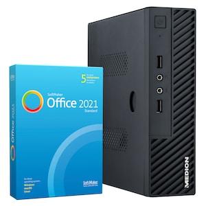 MEDION® AKOYA® S23003, Intel® Celeron® J4105, Windows10Home, 128 GB SSD, 4 GB RAM, Slim Multimedia PC, inkl. SoftMaker Office Standard 2021