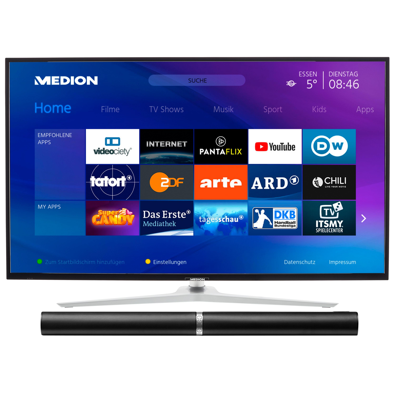 MEDION® LIFE® X14350 Smart-TV, 108 cm (43'') Ultra HD Fernseher, inkl. LIFE® P61202 TV-Soundbar - ARTIKELSET