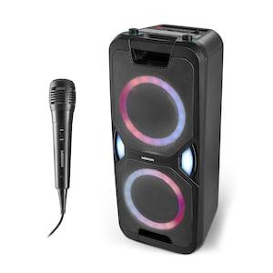 MEDION® LIFE® P67038 Partylautsprecher, PLL-UKW Radio, Bluetooth® 5.0, satter Sound, verschiedene Lichteffekte, X-Bass Bassanhebung, inkl. Mikrofon, 2 x 220 W max. Musikausgangsleistung