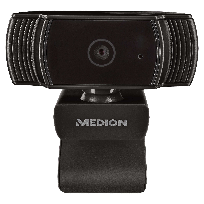MEDION® LIFE® P86366 Webcam, FHD-Videoauflösung mit 30 Bildern/Sek., integr. Mikrofon, Fotomodus, Autofokus inklusive Belichtungskontrolle, flexibel aufstellbar, Plug & Play