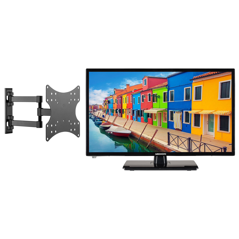MEDION® Offre combinée ! LIFE E12443 LCD-TV 23 Pouces avec Lecteur DVD & GOOBAY Basic FULLMOTION (D20) Fixation mural