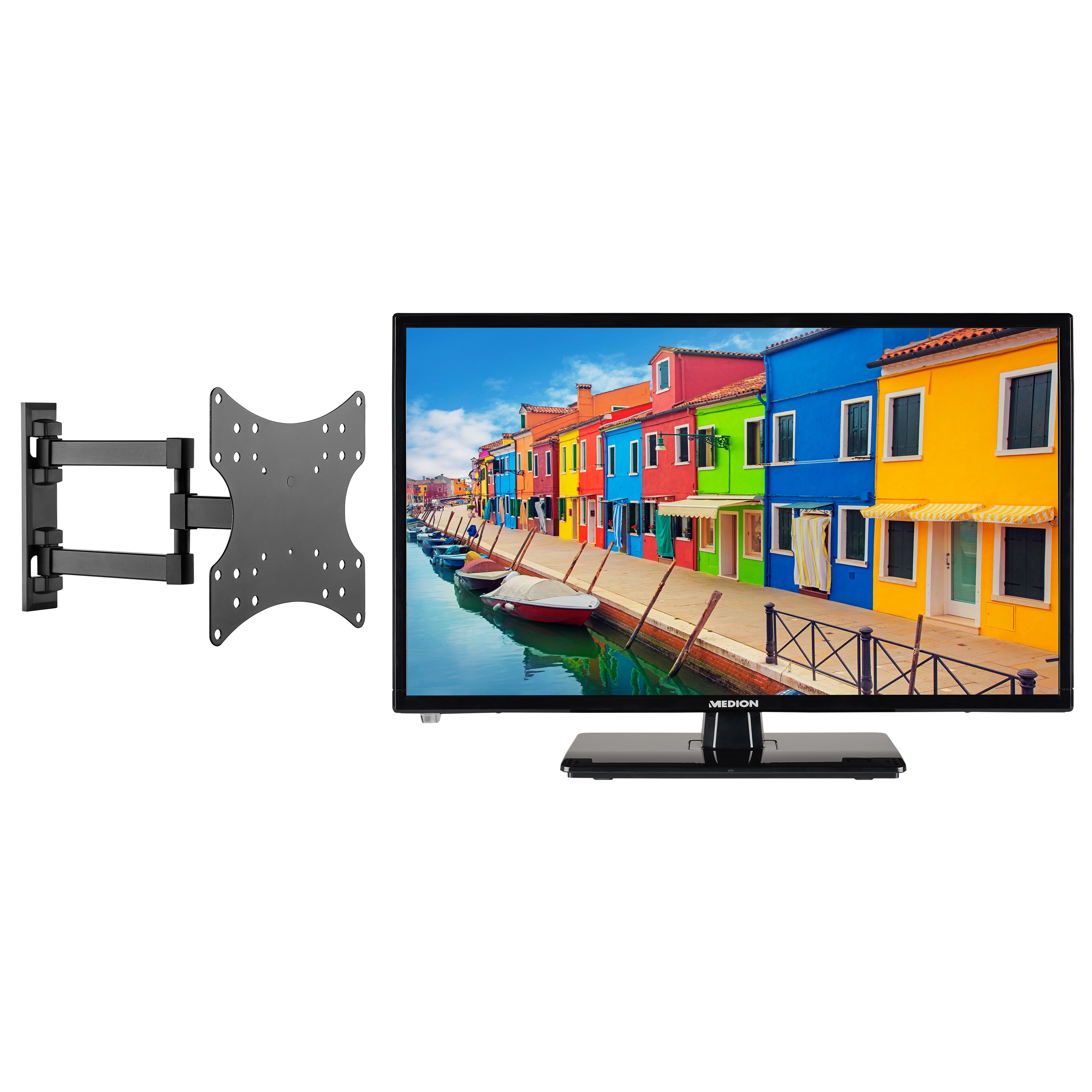 MEDION® Offre combinée ! LIFE E12442 LCD-TV 23 Pouces & GOOBAY Support mural Basic FULLMOTION (D20)
