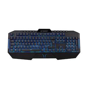 MEDION® ERAZER® X81200 Semi-Mechanische Gaming Tastatur, präziser und definierter Tastenhub mit Klick, Makrotasten, Anti-Ghosting, stoffumanteltes USB-Kabel. Hintergrundbeleuchtung mit 7 Farben