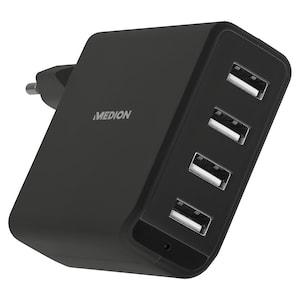 MEDION® S87012 USB-Ladestation,  5 V/ 4,8 A aufgeteilt auf 4 USB Anschlüsse, blaue LED, kompakt Bauform, nur noch eine Ladestation für alle