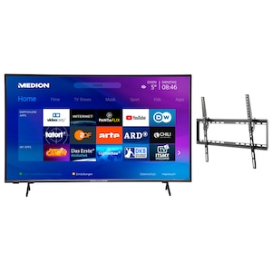 MEDION® LIFE® X15814 146,1 cm (58'') Ultra HD Smart-TV + GOOBAY Basic TILT (L) Wandhalterung - ARTIKELSET