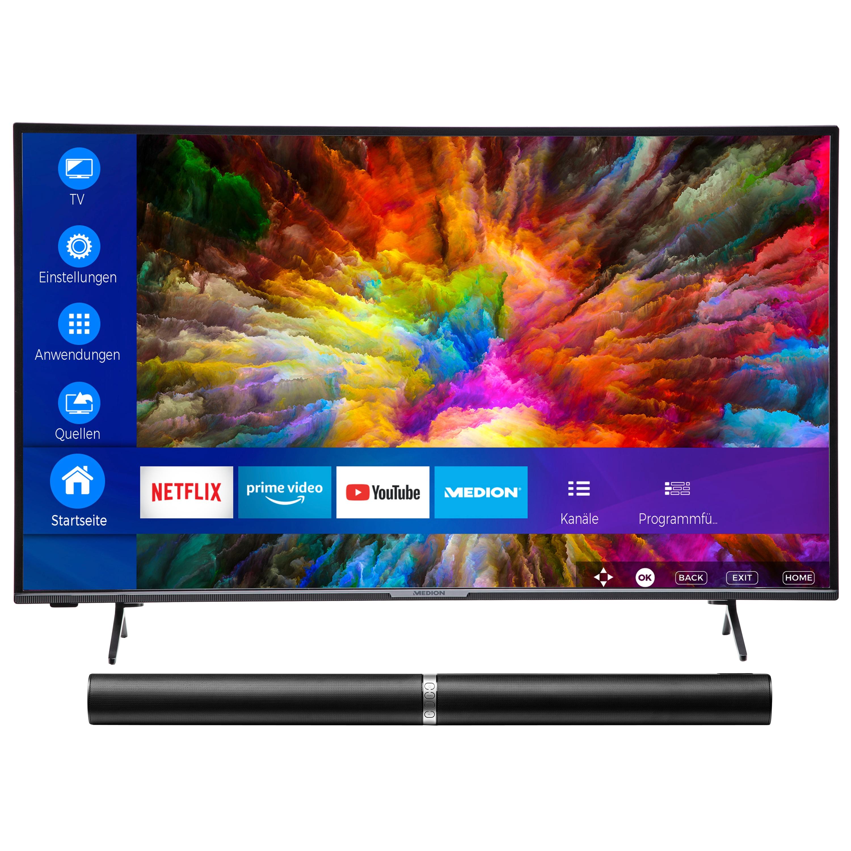 MEDION® LIFE® X14380 Smart-TV, 108 cm (43'') Ultra HD Fernseher, inkl. LIFE® P61202 TV-Soundbar - ARTIKELSET