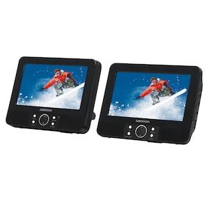 MEDION® LIFE® E72040 Portabler DVD-Player mit zwei digitalen 17,7 cm (7'') Displays, 2 x 2 W RMS, USB-Anschluss und Kartenleser, Kompatibel mit Xvid und MPEG4