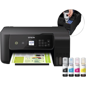 EPSON EcoTank ET-2720 3-in-1 Drucker, LC-Farbdisplay, WiFi, Drucken, Scannen und Kopieren, inklusive Tintenflaschen