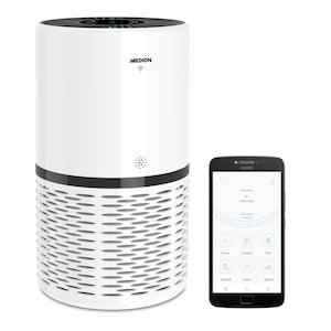 MEDION® Luftreiniger MD 10171, reduziert Aerosol-Konzentrationen, App-Steuerung, Touch Bedienfeld, HEPA-Filter, Luftqualitätsanzeige, Timerfunktion, 23 Watt