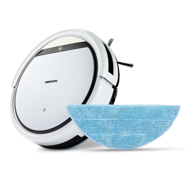 MEDION® Robot aspirateur avec fonction de nettoyage MD 18501 | poussière | cheveux et pollen | avec fonction de programmation | 90 min. durée de fonctionnement et chargement automatique