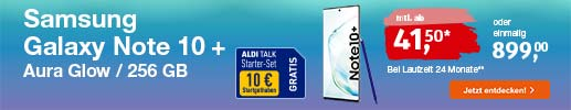 ALDI TALK - Top Angebot: Samsung Galaxy Note 10 Plus für 899 Euro